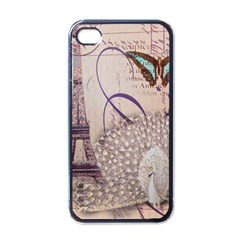 White Peacock Paris Eiffel Tower Vintage Bird Butterfly French Botanical Art Apple Iphone 4 Case (black) by chicelegantboutique
