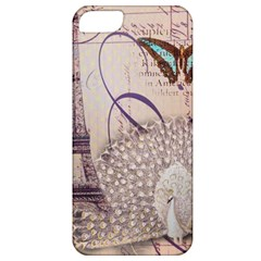 White Peacock Paris Eiffel Tower Vintage Bird Butterfly French Botanical Art Apple Iphone 5 Classic Hardshell Case by chicelegantboutique