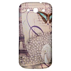 White Peacock Paris Eiffel Tower Vintage Bird Butterfly French Botanical Art Samsung Galaxy S3 S Iii Classic Hardshell Back Case by chicelegantboutique