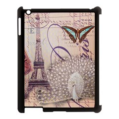 White Peacock Paris Eiffel Tower Vintage Bird Butterfly French Botanical Art Apple Ipad 3/4 Case (black) by chicelegantboutique