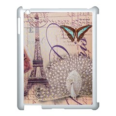 White Peacock Paris Eiffel Tower Vintage Bird Butterfly French Botanical Art Apple Ipad 3/4 Case (white) by chicelegantboutique