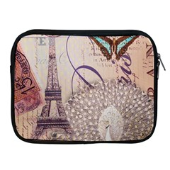 White Peacock Paris Eiffel Tower Vintage Bird Butterfly French Botanical Art Apple Ipad 2/3/4 Zipper Case by chicelegantboutique