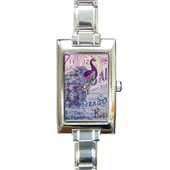 French Scripts  Purple Peacock Floral Paris Decor Rectangular Italian Charm Watch by chicelegantboutique