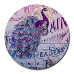French Scripts  Purple Peacock Floral Paris Decor 8  Mouse Pad (round) by chicelegantboutique