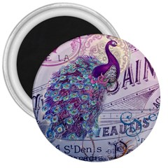 French Scripts  Purple Peacock Floral Paris Decor 3  Button Magnet by chicelegantboutique