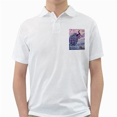 French Scripts  Purple Peacock Floral Paris Decor Mens  Polo Shirt (white) by chicelegantboutique