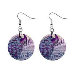 French Scripts  Purple Peacock Floral Paris Decor Mini Button Earrings by chicelegantboutique
