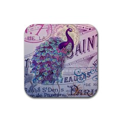 French Scripts  Purple Peacock Floral Paris Decor Drink Coaster (square) by chicelegantboutique