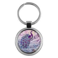 French Scripts  Purple Peacock Floral Paris Decor Key Chain (round) by chicelegantboutique