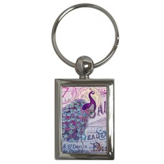 French Scripts  Purple Peacock Floral Paris Decor Key Chain (rectangle) by chicelegantboutique
