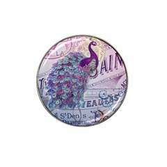 French Scripts  Purple Peacock Floral Paris Decor Golf Ball Marker 4 Pack (for Hat Clip) by chicelegantboutique