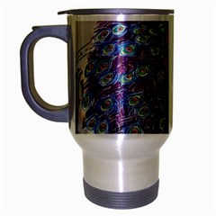 French Scripts  Purple Peacock Floral Paris Decor Travel Mug (silver Gray) by chicelegantboutique
