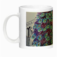 French Scripts  Purple Peacock Floral Paris Decor Glow In The Dark Mug by chicelegantboutique