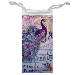 French Scripts  Purple Peacock Floral Paris Decor Jewelry Bag by chicelegantboutique