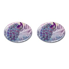 French Scripts  Purple Peacock Floral Paris Decor Cufflinks (oval) by chicelegantboutique