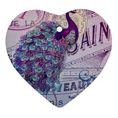 French Scripts  Purple Peacock Floral Paris Decor Heart Ornament (two Sides) by chicelegantboutique