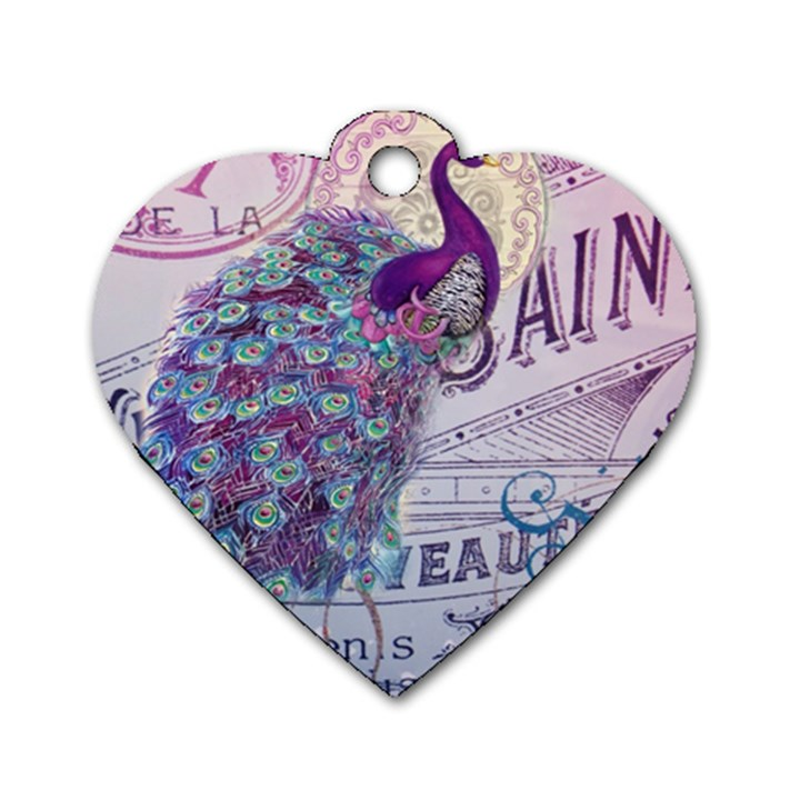 French Scripts  Purple Peacock Floral Paris Decor Dog Tag Heart (Two Sided)