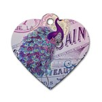 French Scripts  Purple Peacock Floral Paris Decor Dog Tag Heart (Two Sided) Back