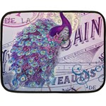 French Scripts  Purple Peacock Floral Paris Decor Mini Fleece Blanket (Two Sided) 35 x27  Blanket Front