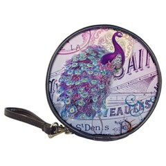 French Scripts  Purple Peacock Floral Paris Decor Cd Wallet by chicelegantboutique
