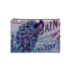 French Scripts  Purple Peacock Floral Paris Decor Cosmetic Bag (medium) by chicelegantboutique