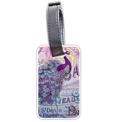 French Scripts  Purple Peacock Floral Paris Decor Luggage Tag (two Sides) by chicelegantboutique