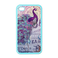 French Scripts  Purple Peacock Floral Paris Decor Apple Iphone 4 Case (color) by chicelegantboutique