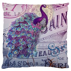 French Scripts  Purple Peacock Floral Paris Decor Large Cushion Case (two Sided)