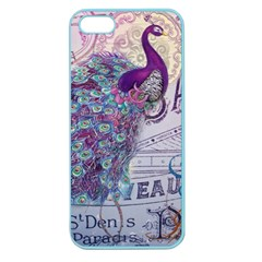 French Scripts  Purple Peacock Floral Paris Decor Apple Seamless Iphone 5 Case (color) by chicelegantboutique