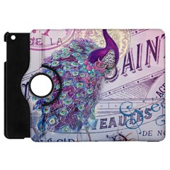 French Scripts  Purple Peacock Floral Paris Decor Apple Ipad Mini Flip 360 Case by chicelegantboutique