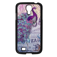 French Scripts  Purple Peacock Floral Paris Decor Samsung Galaxy S4 I9500/ I9505 (black) by chicelegantboutique