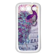 French Scripts  Purple Peacock Floral Paris Decor Samsung Galaxy S3 Back Case (white) by chicelegantboutique
