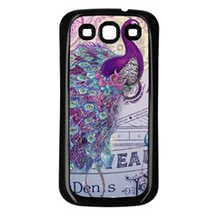 French Scripts  Purple Peacock Floral Paris Decor Samsung Galaxy S3 Back Case (black) by chicelegantboutique