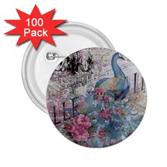 French Vintage Chandelier Blue Peacock Floral Paris Decor 2 25  Button (100 Pack) by chicelegantboutique