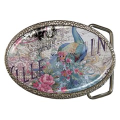 French Vintage Chandelier Blue Peacock Floral Paris Decor Belt Buckle (oval) by chicelegantboutique