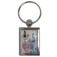 French Vintage Chandelier Blue Peacock Floral Paris Decor Key Chain (rectangle) by chicelegantboutique
