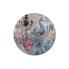 French Vintage Chandelier Blue Peacock Floral Paris Decor Magnet 3  (round) by chicelegantboutique