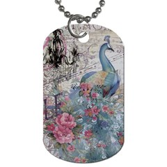 French Vintage Chandelier Blue Peacock Floral Paris Decor Dog Tag (two-sided)  by chicelegantboutique