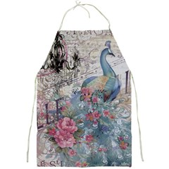 French Vintage Chandelier Blue Peacock Floral Paris Decor Apron