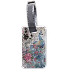 French Vintage Chandelier Blue Peacock Floral Paris Decor Luggage Tag (two Sides) by chicelegantboutique