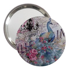 French Vintage Chandelier Blue Peacock Floral Paris Decor 3  Handbag Mirror by chicelegantboutique