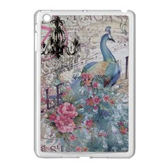 French Vintage Chandelier Blue Peacock Floral Paris Decor Apple Ipad Mini Case (white) by chicelegantboutique