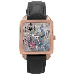 French Vintage Chandelier Blue Peacock Floral Paris Decor Rose Gold Leather Watch  by chicelegantboutique