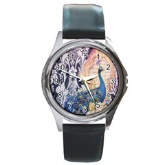 Damask French Scripts  Purple Peacock Floral Paris Decor Round Metal Watch (silver Rim) by chicelegantboutique