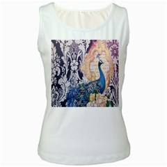 Damask French Scripts  Purple Peacock Floral Paris Decor Womens  Tank Top (white) by chicelegantboutique