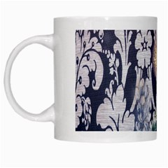 Damask French Scripts  Purple Peacock Floral Paris Decor White Coffee Mug by chicelegantboutique