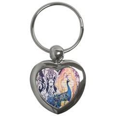 Damask French Scripts  Purple Peacock Floral Paris Decor Key Chain (heart) by chicelegantboutique