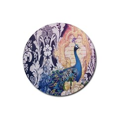 Damask French Scripts  Purple Peacock Floral Paris Decor Drink Coaster (round)