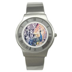 Damask French Scripts  Purple Peacock Floral Paris Decor Stainless Steel Watch (unisex) by chicelegantboutique