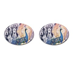Damask French Scripts  Purple Peacock Floral Paris Decor Cufflinks (oval) by chicelegantboutique